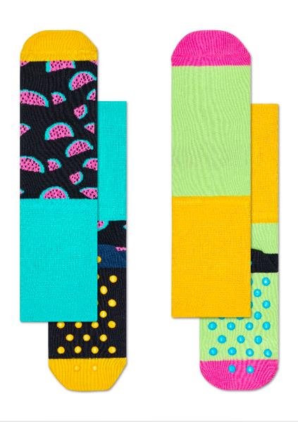 Skarpetki dziecięce antypoślizgowe (2-pak) Happy Socks KWAT19-9000